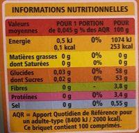 Edulcorant de table avec des extraits de stevia100 comprimés - Informations nutritionnelles