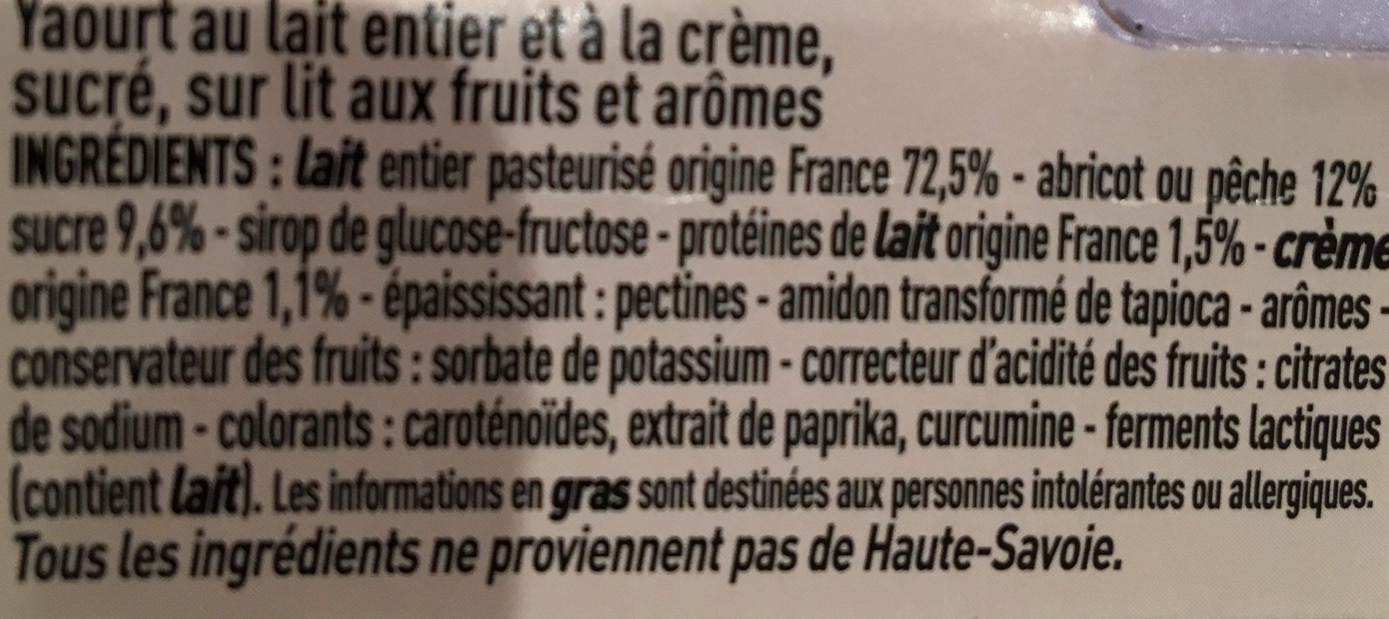 Yaourt au lait de Haute-Savoie - 2 pêche / 2 abricot - Ingrediënten - fr