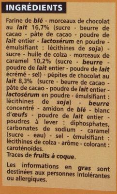 Cookies aux pépites gourmandes choclat et éclats de caramel - Ingredients