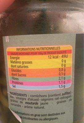 Mini-cornichons - Nutrition facts