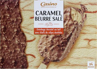 Maxi bâtonnets caramel au beurre salé enrobage chocolat au lait avec éclats de crêpes dentelles x4 - Product - fr
