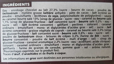 Maxi bâtonnets caramel au beurre salé enrobage chocolat au lait avec éclats de crêpes dentelles x4 - Ingredients - fr