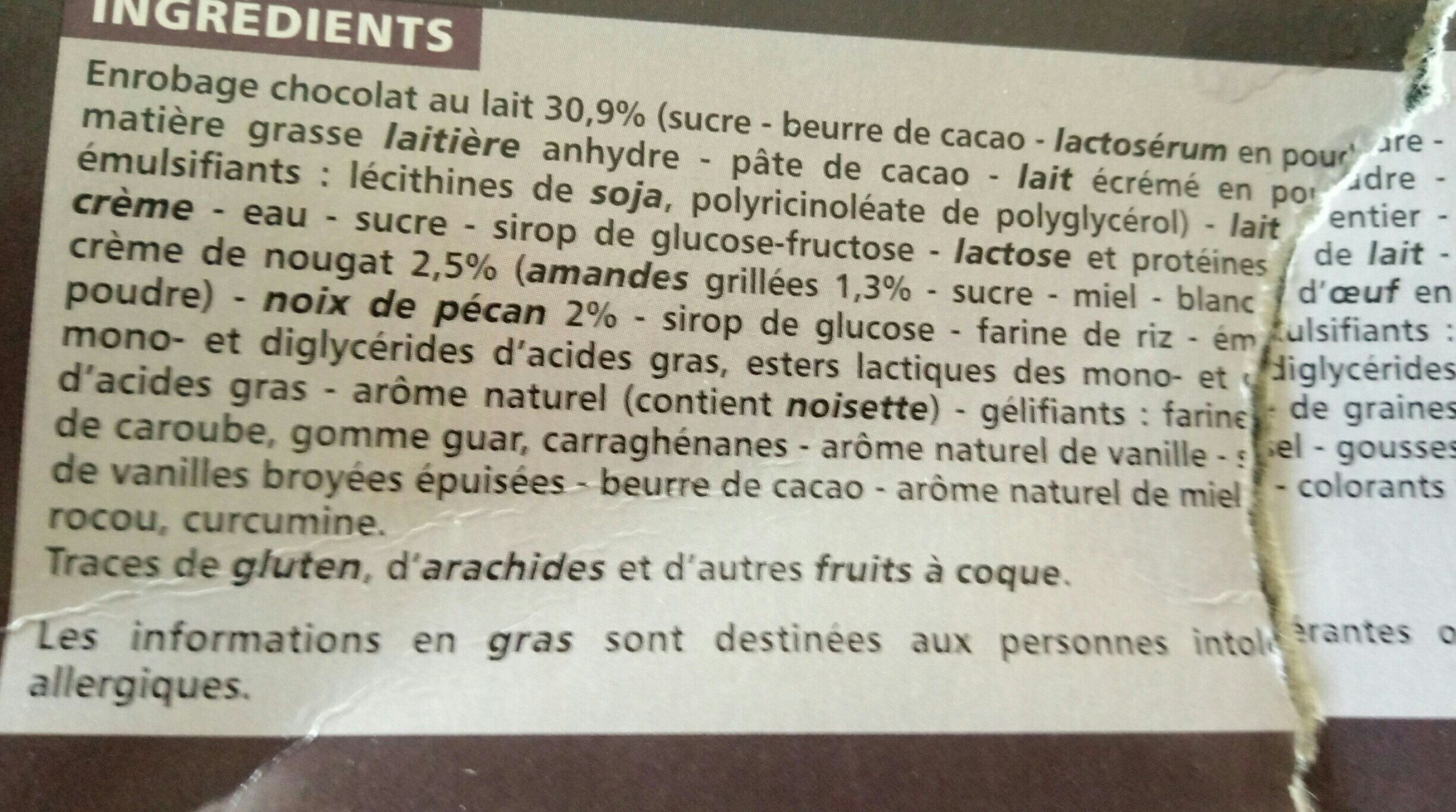 Vanille nougat - Ingredients