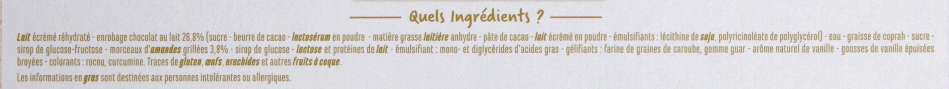 Maxi bâtonnets vanille enrobage chocolat au lait éclats d'amandes x4 - Ingredients