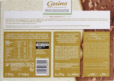 Maxi bâtonnets vanille enrobage chocolat au lait éclats d'amandes x4 - Nutrition facts