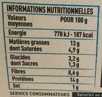 Rillettes de de Bretagne sardines au sel de Guérande - Voedingswaarden - fr