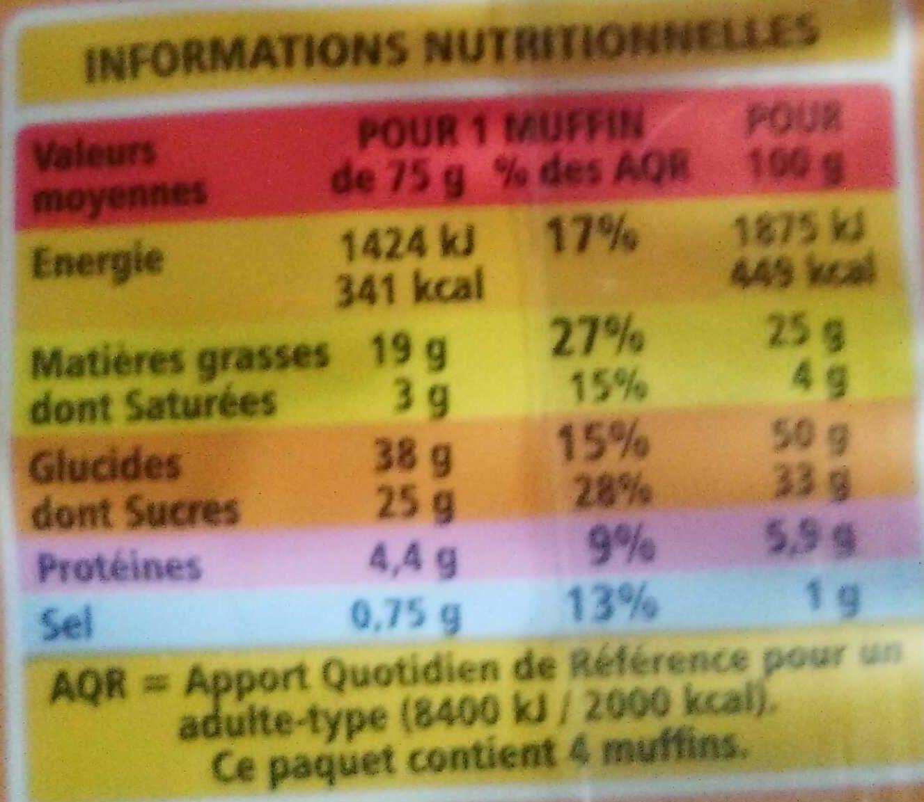 Muffins aux pépites de chocolat cœur au goût choco noisette - Informations nutritionnelles