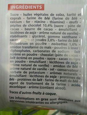 Muffins cacaotés aux pépites de chocolat cœur au goût choco noisette - Ingrédients - fr