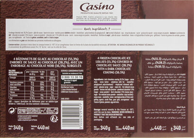 Chocolat double sauce chocolat - Enrobage chocolat noir - Nutrition facts
