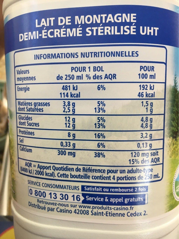 Lait Demi-Écrémé de Montagne - Informations nutritionnelles