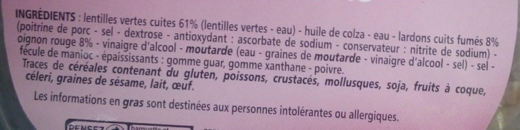 Lentilles aux Lardons - Ingrédients
