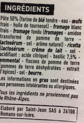 Ravioles au basilic - Ingrediënten