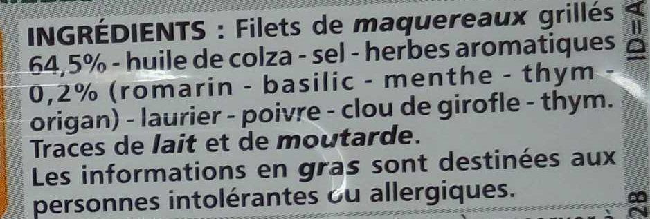 Filets de maquereaux grillés aux herbes - Ingrédients