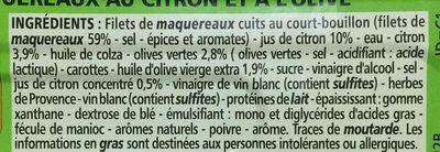 Filets de maquereaux au citron et à l'olive - Ingrédients