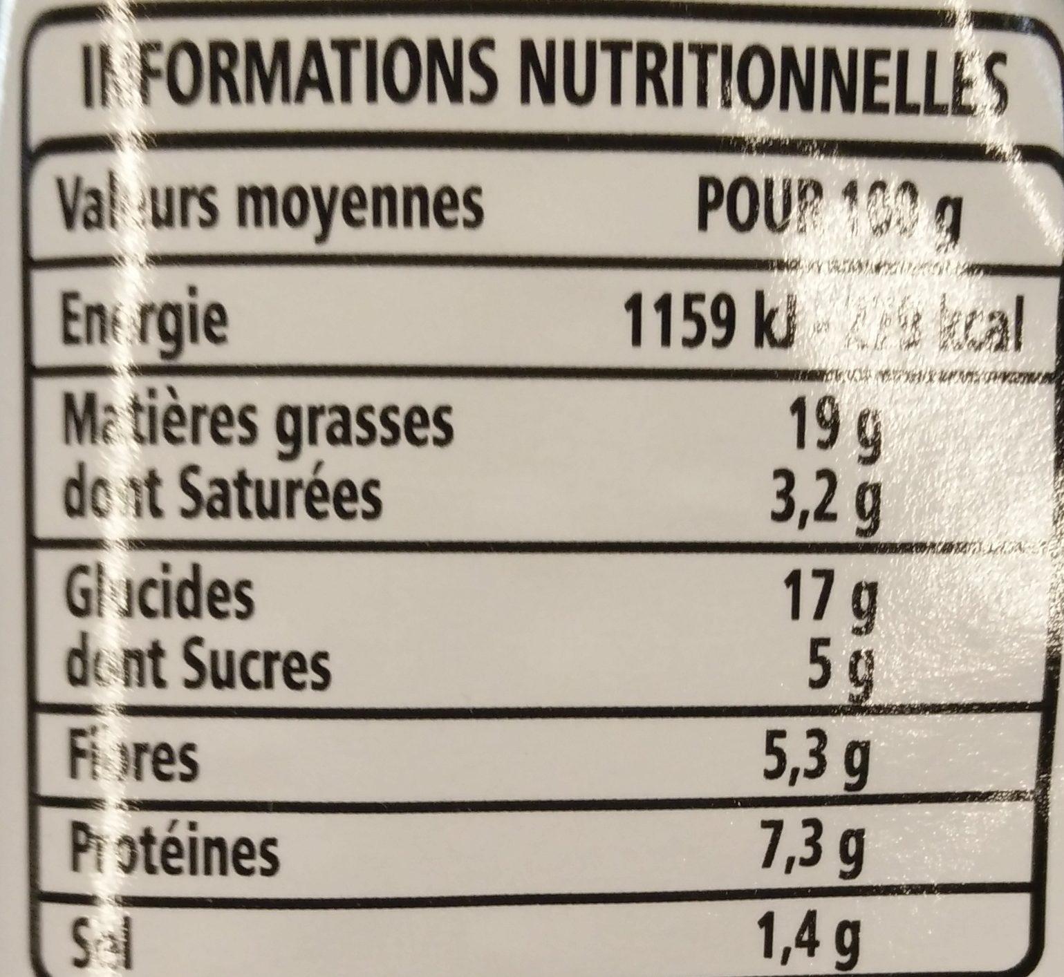 Cake aux légumes - Informations nutritionnelles - fr