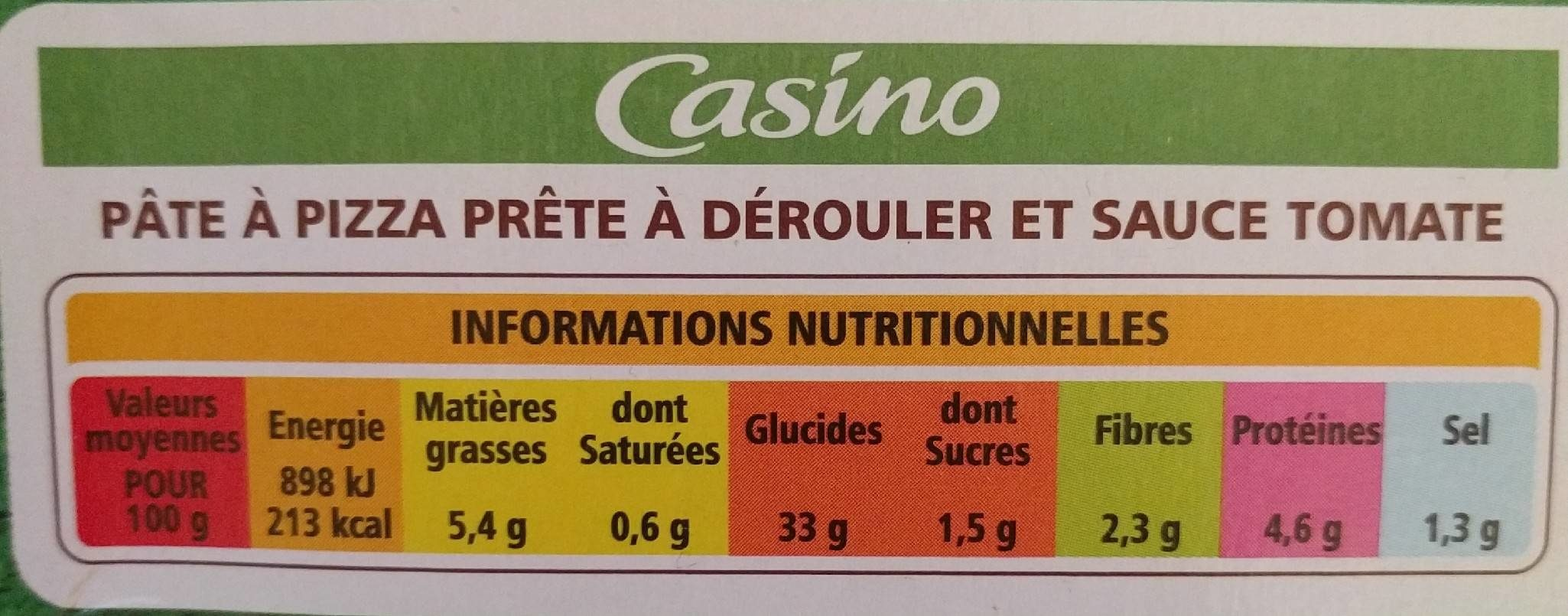 Kit à pizza (pâte à pizza rectangulaire + sauce tomate) - Nutrition facts