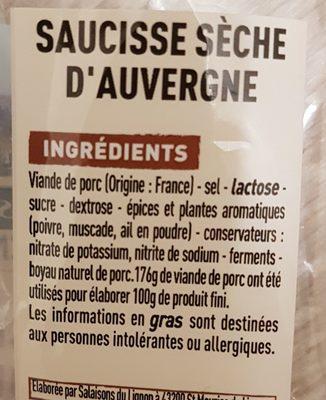 Saucisse sèche d'Auvergne - Ingrediënten - fr