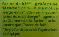 Gressins aux graines de sésame Bio - Ingredients - fr