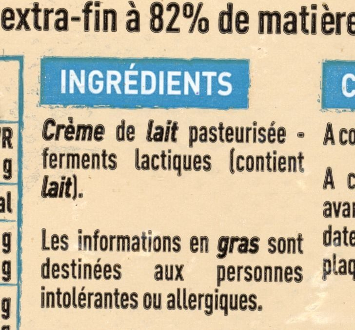 Beurre d'Isigny doux - Ingredients - fr