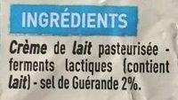 Beuure d'Isigny beurre au sel de Guérande - Ingrediënten - fr