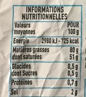 Beuure d'Isigny beurre au sel de Guérande - Voedingswaarden - fr