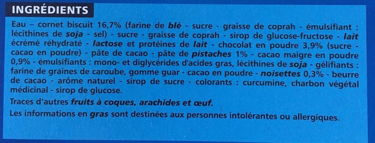 Cônes Chocolat Pistache x6 - Ingredients