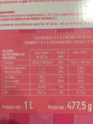 Vacherin vanille framboise - Informations nutritionnelles