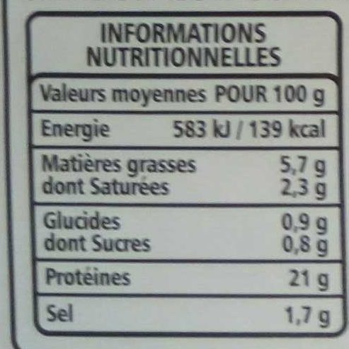 Le Julo (4 tranches) - Nutrition facts