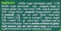 Salade de lentilles corail aux raisins secs - Ingrédients - fr
