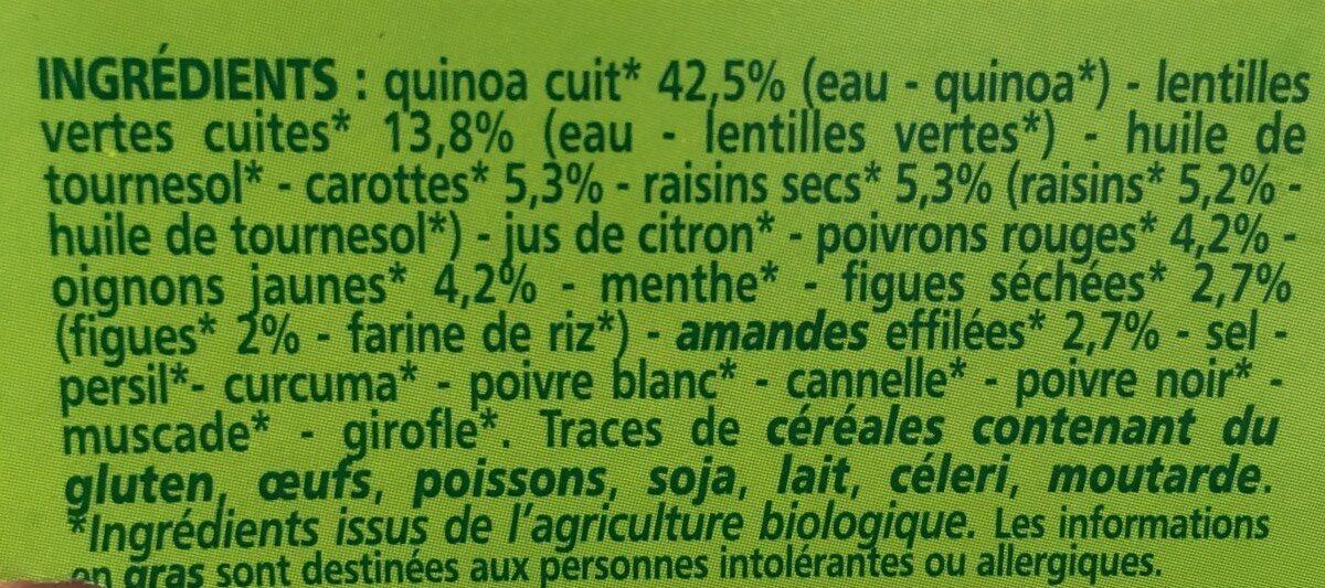 Mélange Quinoa, légumes et fruits secs Bio - Ingredients