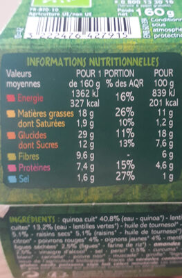 Mélange Quinoa, légumes et fruits secs Bio - Nutrition facts
