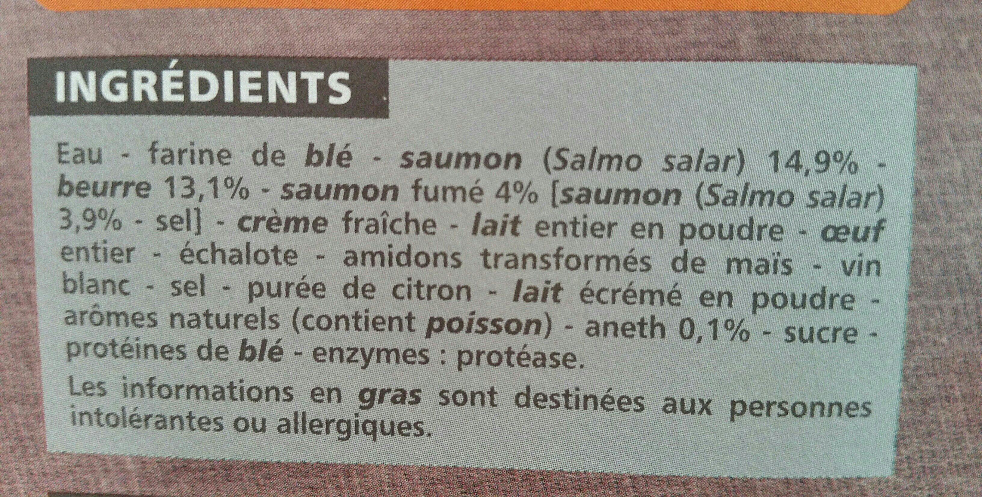 Entrées feuilletées aux 2 saumons - Ingrédients - fr