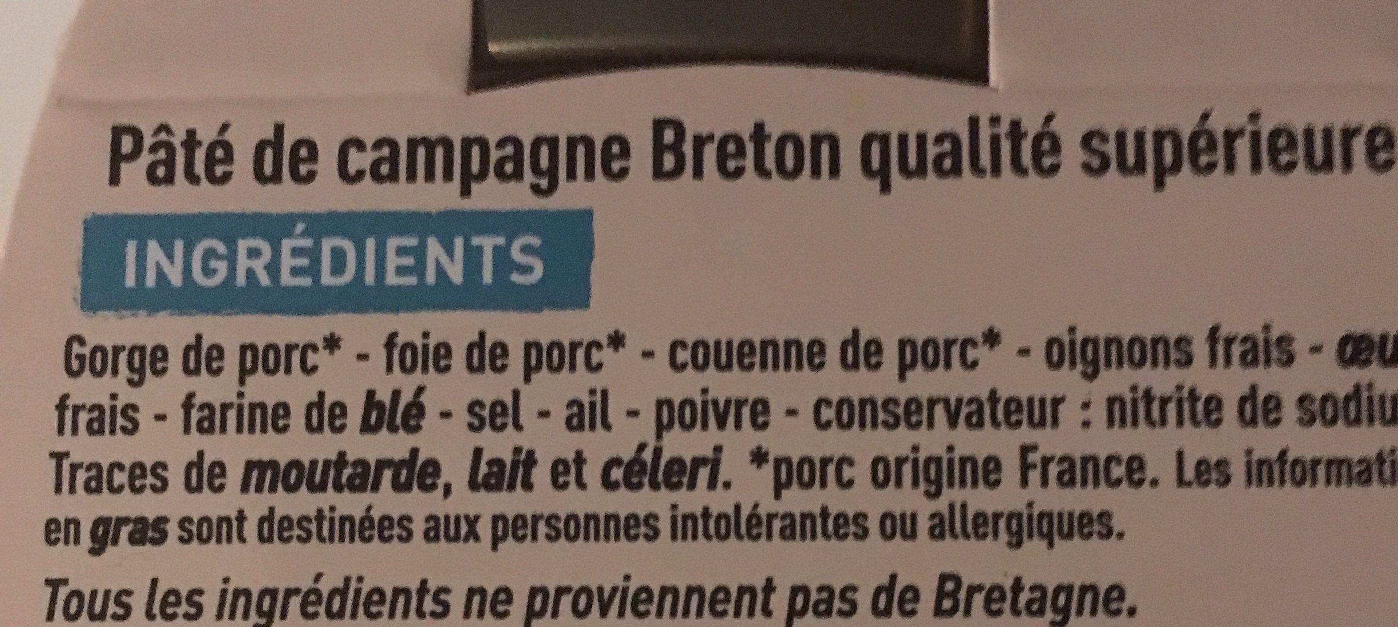 Paté de campagne breton LR CVI - Ingrediënten - fr