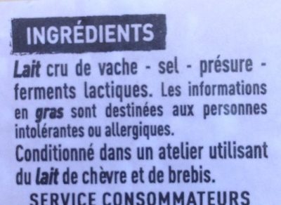 Cantal Entre-Deux au lait cru - Ingrediënten - fr