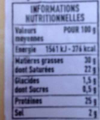 Cantal Entre-Deux au lait cru - Voedingswaarden - fr