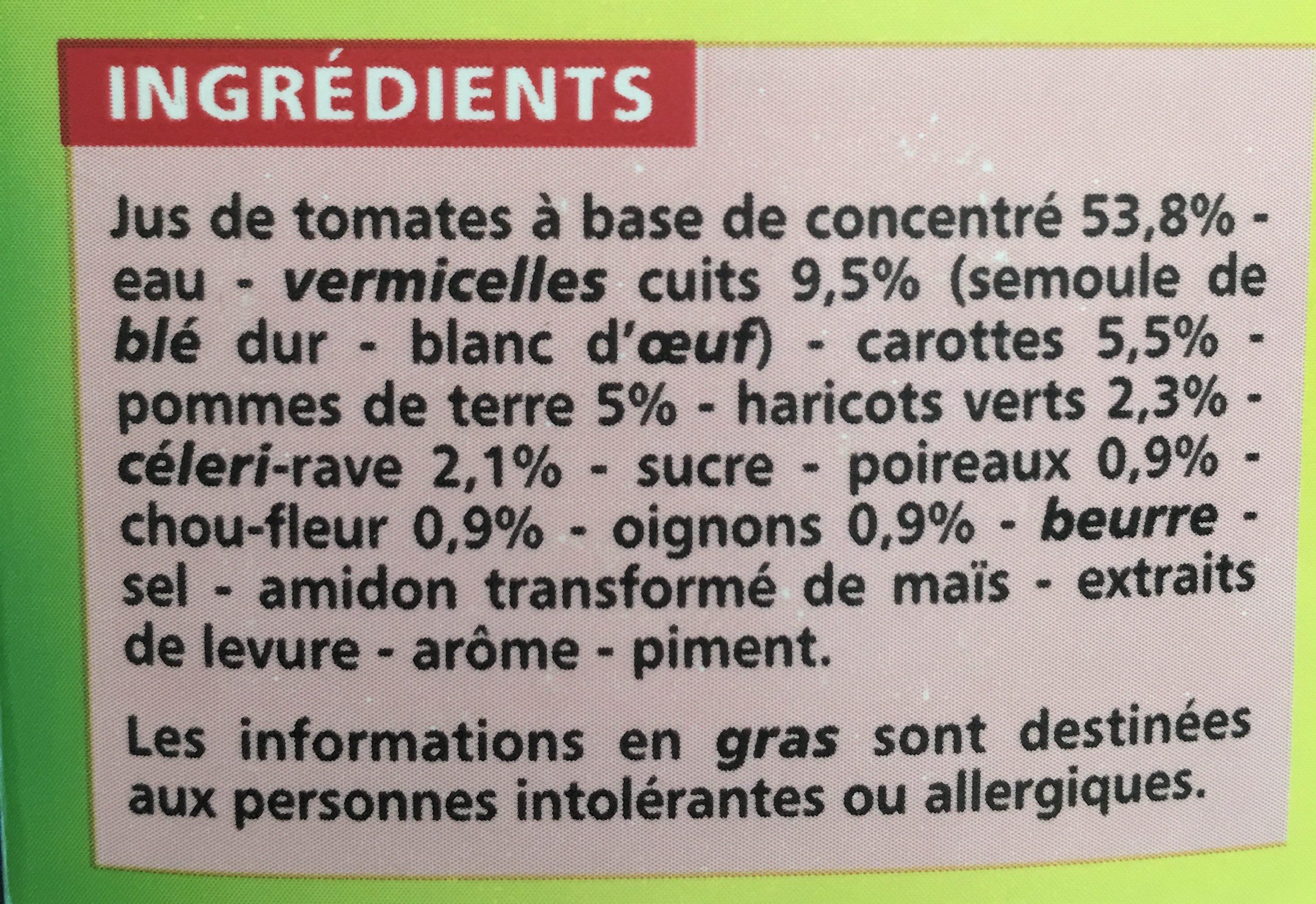 Soupe tomate et vermicelles - Ingredients - fr
