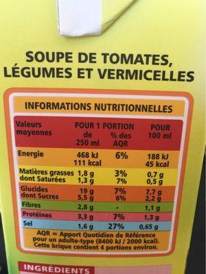 Soupe tomate et vermicelles - Nutrition facts - fr