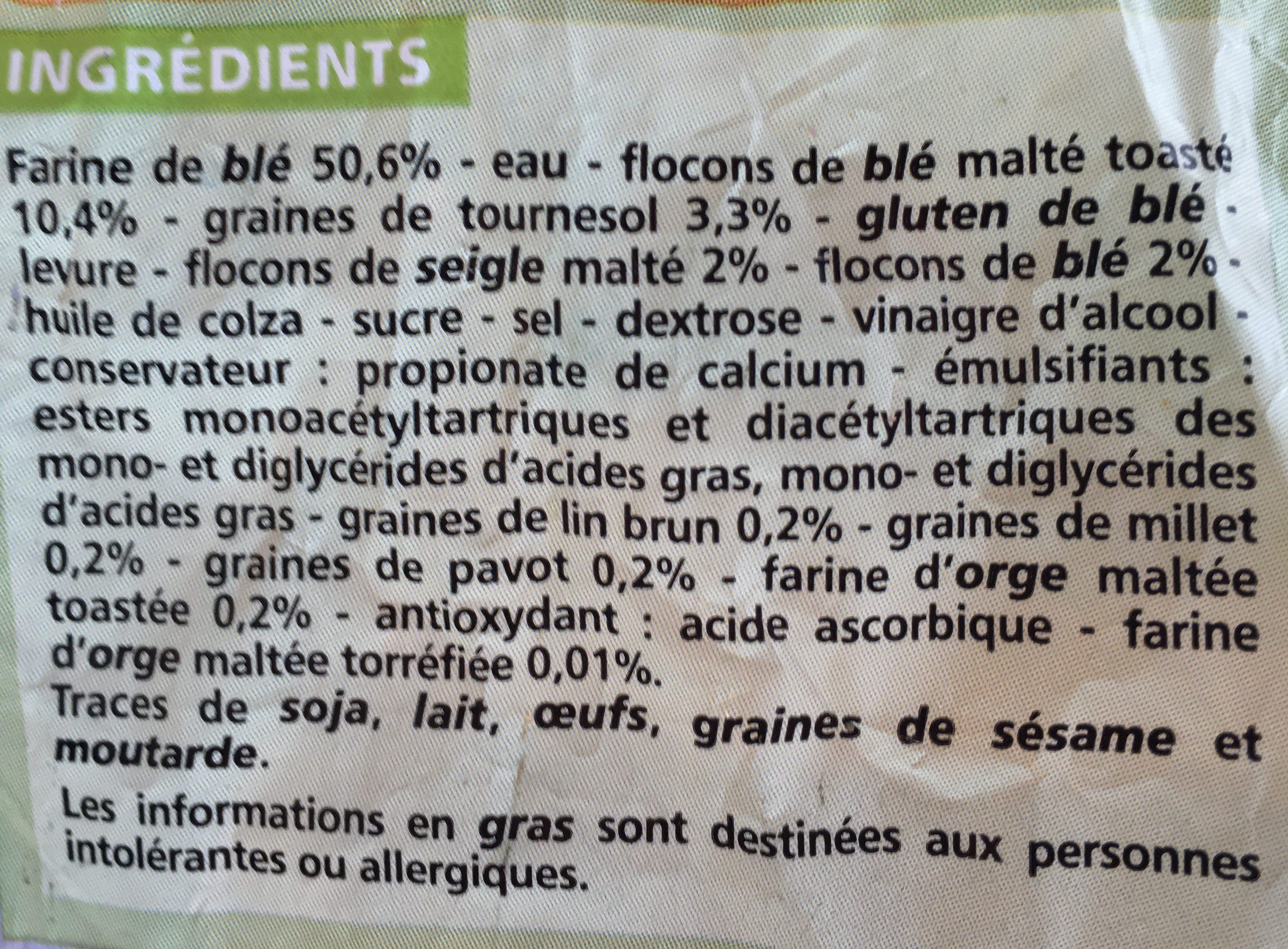 Pain de mie moelleux Céréales et Graines - 14 tranches - Ingrédients - fr