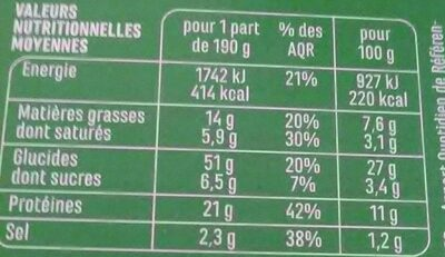 Grande pizza Royale - Nutrition facts