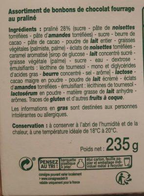 Assortiment de pralinés - Ingredients