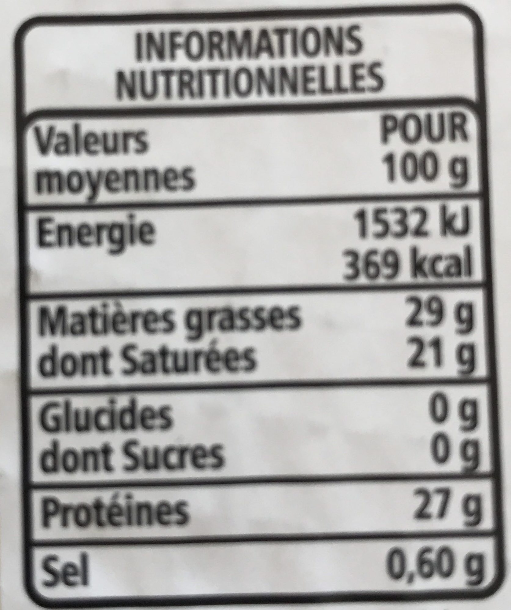 Emmental Français - 15 tranches environ - Voedingswaarden