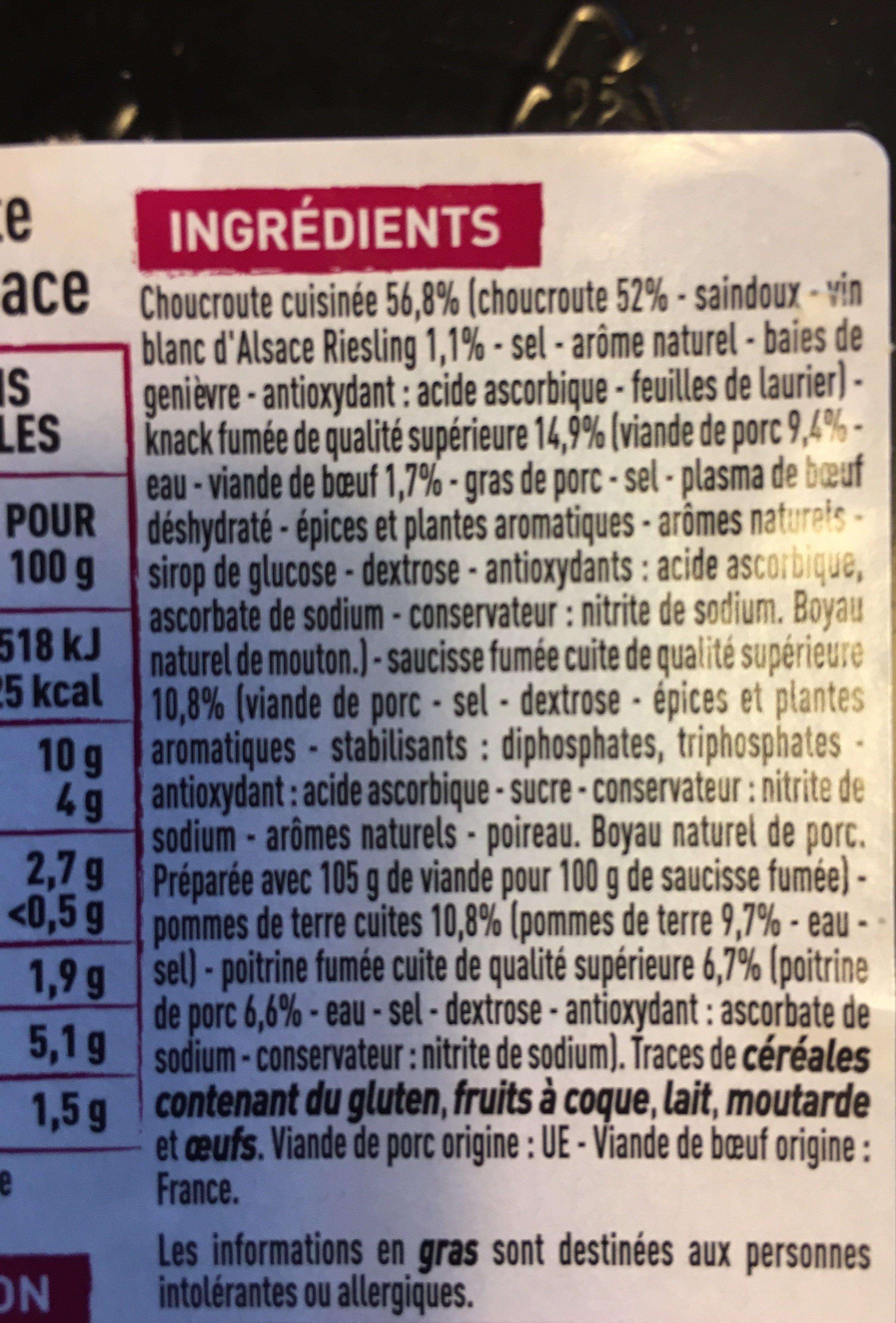 Choucroute garnie d'Alsace cuisinée au riesling - Ingrédients - fr
