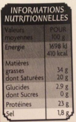 Cheddar - 10 tranches - Voedingswaarden - fr