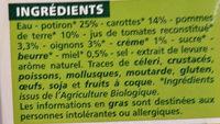 Velouté potiron carottes et miel BIO - Ingredients
