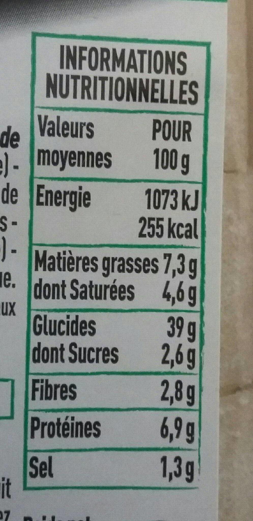 Préfou vendéen tomates basilic - Nutrition facts