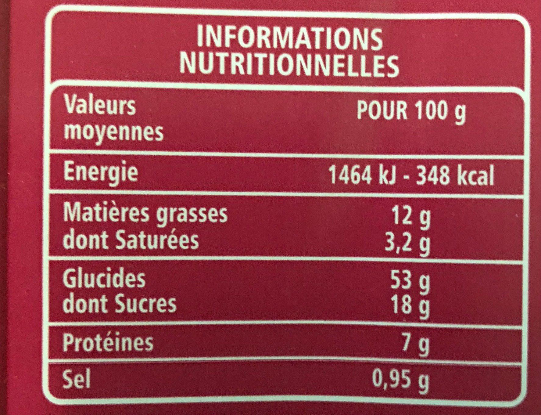 Brioche des rois aux pépites de chocolat au lait - Nutrition facts - fr