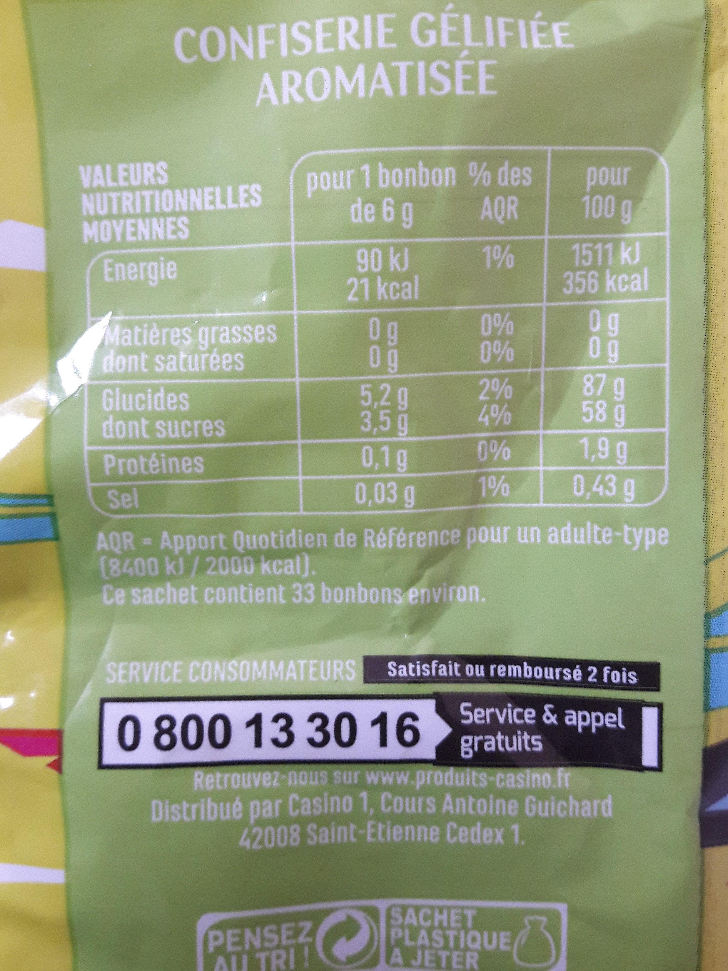 Langu'acide goûts fruits et cola CASINO - Informations nutritionnelles