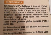 Tartiflette au Reblochon de Savoie - Ingredients