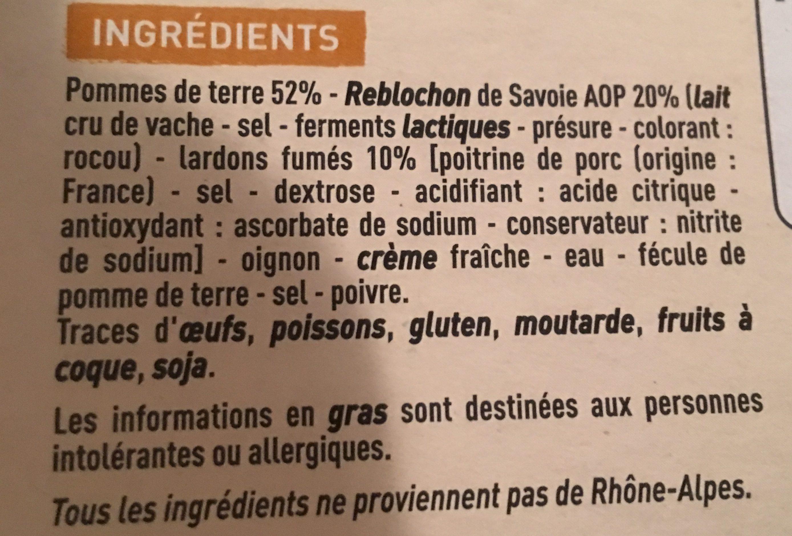 Tartiflette au Reblochon de Savoie - Ingrédients