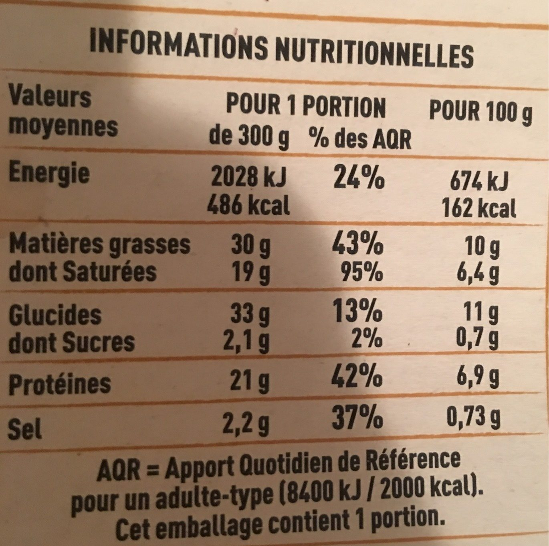 Tartiflette au Reblochon de Savoie - Informations nutritionnelles